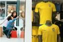 """O flagrante da reação de uma """"criança"""" frente à vitrine com a camisa da Seleção Brasileira"""