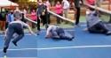 Em evento, Alcolumbre tenta jogar tênis, cai no chão e vira chacota na web (veja o vídeo)