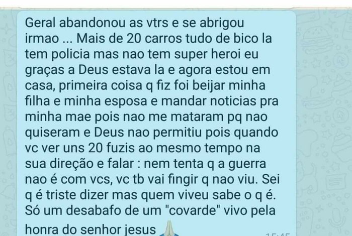 """""""Desabafo De Um Covarde Vivo"""", Texto De PM Da UPP Da"""