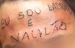"""Garoto tatuado com """"Ladrão e Vacilão"""" é novamente flagrado roubando (Veja o Vídeo)"""
