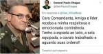 """General Paulo Chagas responde a mensagem do comandante:  """"Tenho a espada ao lado, a sela equipada, o cavalo trabalhado e aguardo as suas ordens"""""""