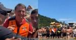 Bolsonaro aproveita folga, vai a praia e é recebido com grande festa pelos banhistas (veja o vídeo)