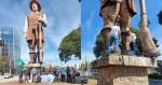 """Grupo Cristão Conservador dá lição na """"esquerdalha"""" e faz limpeza na estátua de Borba Gato"""