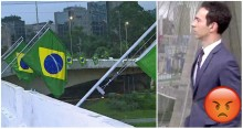 A mesma Rede Globo que incentiva pichações, agora, questiona bandeiras brasileiras em pontes de São Paulo (veja o vídeo)
