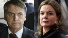 """Bolsonaro """"lamenta"""" ausência de PT e PSOL e é insultado por Gleisi"""