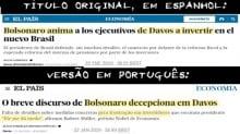 O mesmo jornal, a mesma jornalista e duas versões para a performance de Bolsonaro