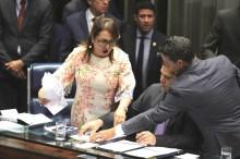 Aliada do PT, senadora Kátia Abreu rouba pasta de documentos da mesa do senado (Veja o Vídeo)