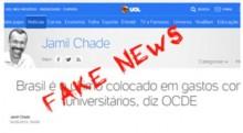 Fake News do UOL publicado neste sábado, é desmentido por matéria de 2017 da Folha, a dona do UOL