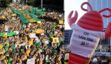 """Paulista tem coro """"NHONHO NÃO!"""" e lagosta inflável contra Maia e licitação estapafúrdia do STF (veja o vídeo)"""