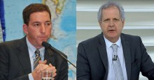 "Glenn Greenwald, o jornalista dos pastéis de vento, chama Augusto Nunes de ""covarde total"""