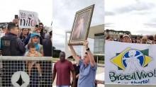 Bolsonaro desce a rampa do Planalto para apoiar movimento contra o aborto (veja o vídeo)