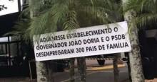 Empresa demite 300 funcionários e coloca faixa 'agradecendo' Doria e PSDB