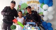 PMs fazem surpresa e vão a festa de aniversário de menino que sonha ser policial