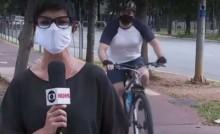 """Ao vivo, homem grita """"Globo Lixo"""" e repórter, pateticamente, tenta inibi-lo (veja o vídeo)"""