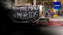 Protesto macabro: caminhão joga 'tinta vermelha' nas ruas de SP, simulando o sangue das 500 mil vítimas da covid (veja o vídeo)