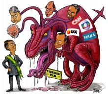 Charge especial - Bolsonaro  contra os monstros da terceira via