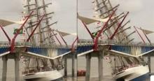 Assustador! Lendário Navio Cisne Branco da Marinha do Brasil sofre acidente no Equador (veja o vídeo)
