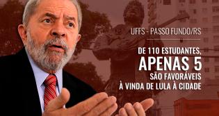 Alunos da UFFS dão exemplo e 93% se posicionam contra a visita de Lula ao câmpus de Passo Fundo
