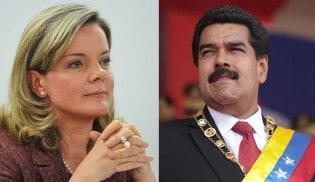 Gleisi, orgulhosa, participa da posse de Maduro nesta quinta (10)