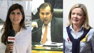 Com apenas uma pancada, Rodrigo Maia acerta a repórter Andréia Sadi e a deputada Gleisi Hoffmann