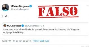 Em matéria falsa, Bergamo e UOL divulgam que celulares não foram hackeados