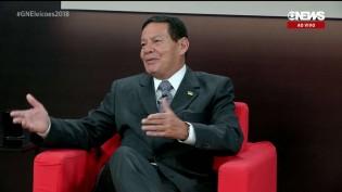 """Mourão dá """"baile"""" em jornalistas da Globo News e diz que livro de Thaís Oyama é """"peça de ficção"""" (veja o vídeo)"""
