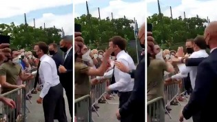 Macron tenta imitar Bolsonaro, vai ao encontro do povo, mas toma tapa na cara (veja o vídeo)