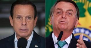 """Bolsonaro sobe o tom contra Doria: """"Vai ameaçar o presidente? Não tem moral! Hipócrita!"""" (veja o vídeo)"""