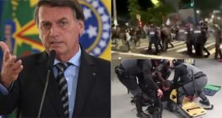 """Bolsonaro repercute agressão de delinquentes lulopetistas contra policiais em SP: """"Esse tipo de gente quer voltar ao Poder"""" (veja o vídeo)"""