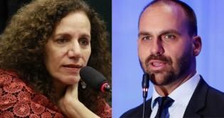 """Eduardo Bolsonaro quer a cassação do mandato de deputada comunista que fez """"apologia ao genocídio"""" (veja o vídeo)"""