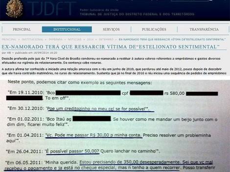 TJ do DF inova, cria 'estelionato sentimental' e condena namorado a devolver dinheiro a ex-namorada