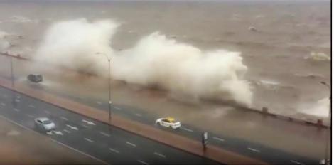 Frio fora de época vem da costa uruguaia, onde ciclone fez o mar invadir prédios e calçadas (veja o vídeo)