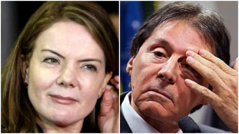 Gleisi disfarça, diz que não apoia Eunício, mas ordem partiu de Lula