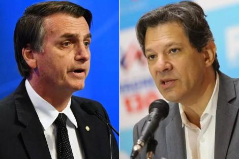 Bolsonaro 11 pontos a frente de Haddad