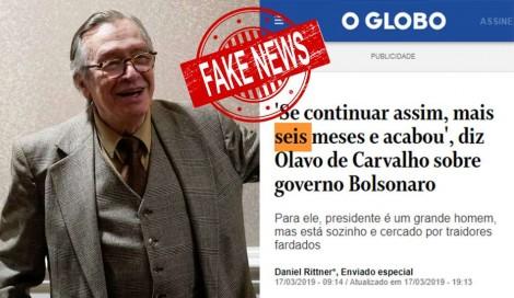 De maneira categórica, Olavo derruba fake news da grande midia (Veja o Vídeo)