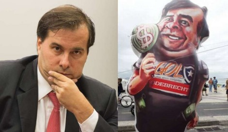 Manifestantes ironizam codinome de Maia nas planilhas da Odebrecht com boneco gigante