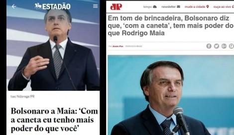 Estadão, com o claro objetivo de criar intriga, transforma brincadeira de Bolsonaro em notícia