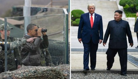 """Duas fotos histórias de presidentes americanos na Coréia do Norte: Obama """"Nobel da Paz"""" Vs Trump """"o malvadão"""""""