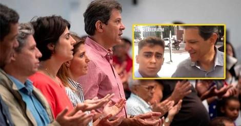 """Jovem conservador questiona Haddad, """"Por que depois das eleições você não voltou a missa?"""" (veja o vídeo)"""