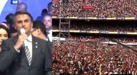 Evangélicos aplaudem Bolsonaro, efusivamente, em estádio completamente lotado (veja o vídeo)