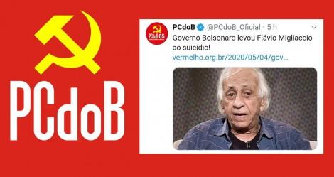 PCdoB atribui suicídio de Flávio Migliaccio ao Governo Bolsonaro e, COVARDE, apaga publicação