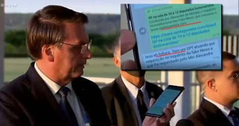 """Bolsonaro """"quebra sigilo"""" de seu celular e mostra o comentário de Moro sobre matéria de O Antagonista: """"Fofoca"""" (veja o vídeo)"""