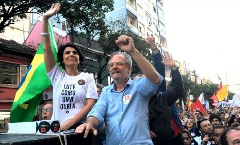 """Piada gaúcha: Manuela é """"candidata"""" à prefeita de POA, com petista como vice"""
