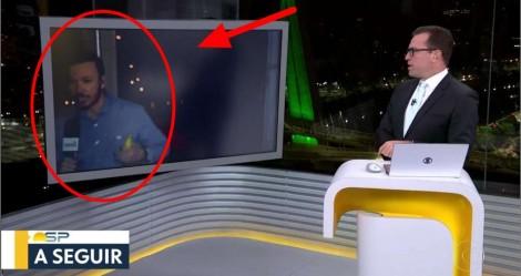 """Sem máscara, repórter da Globo """"foge"""" da câmera (veja o vídeo)"""
