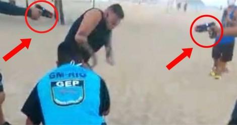 Homem é detido com arma de choque por estar sem máscara em praia do Rio (veja o vídeo)