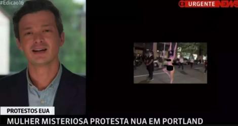 No meio da tarde, GloboNews exibe mulher nua em protesto contra Trump (veja o vídeo)