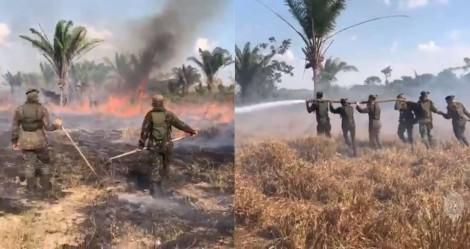 O incansável trabalho dos militares no combate aos incêndios (veja o vídeo)