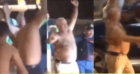 """Prefeito reeleito diz que vai comemorar com cautela, cai na """"manguaça"""" e  sai sem camisa pelas ruas (veja o vídeo)"""