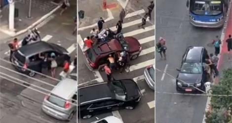 Imagens fortes! Marginais fazem arrastão para roubo de carros na Cracolândia (veja o vídeo)