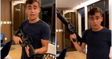 """Jovem vereador vira alvo da """"mídia do ódio"""", após fazer vídeo exibindo fuzil, mas não se intimida (veja o vídeo)"""